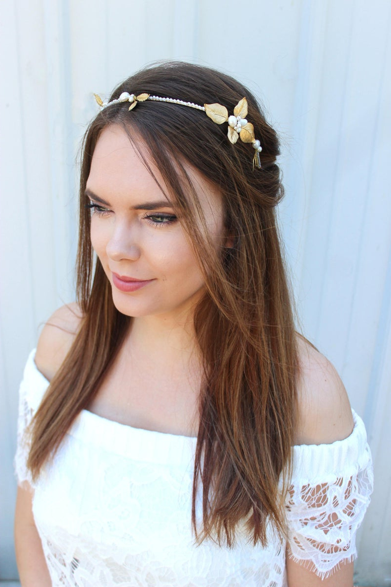 Fashionable Ethereal Updo Hairstyles With Headband Throughout Bridal Headband – Floral Headpiece – Wedding Accessory – Crown – Golden Leaf Headpiece – Boho Bride – Freshwater Pearls – Ethereal Bride (View 9 of 20)