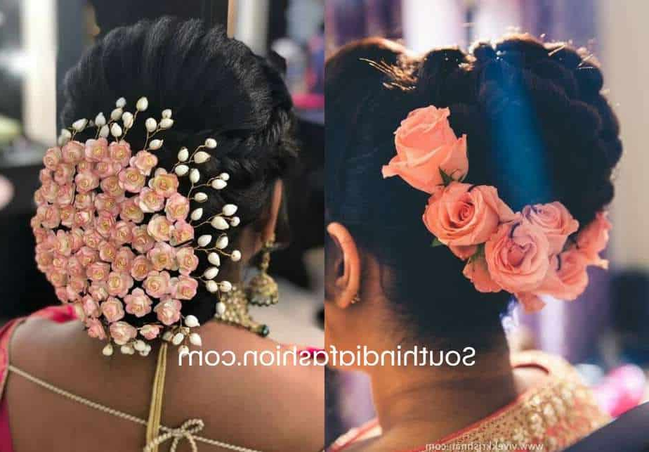 Fashionable Floral Bun Updo Hairstyles Throughout Indian Wedding Bun Hairstyle With Flowers And Gajra! (View 7 of 20)
