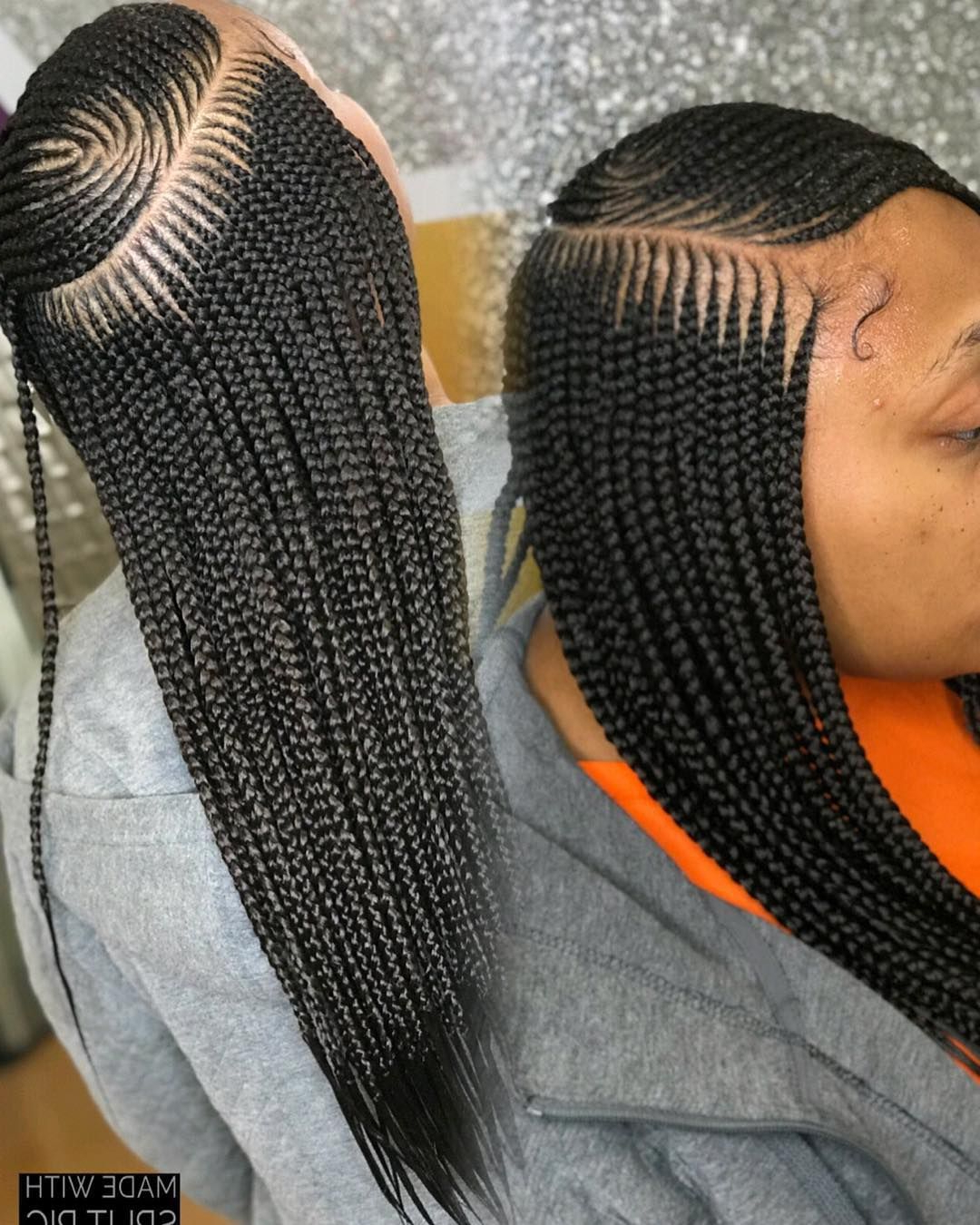 Fashionable Side Parted Loose Cornrows Braided Hairstyles Regarding Mid Back Small Side Part Tribal Braids😍😍😍😍😍 Click Link (View 12 of 20)