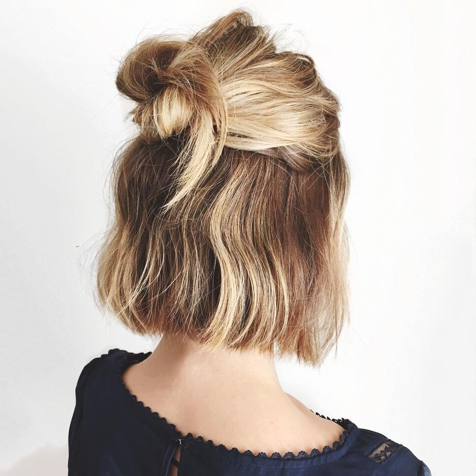 Fashionable Stacked Buns Updo Hairstyles With 30 Second Hairstyles – Easy Hairstyle Ideas (View 20 of 20)