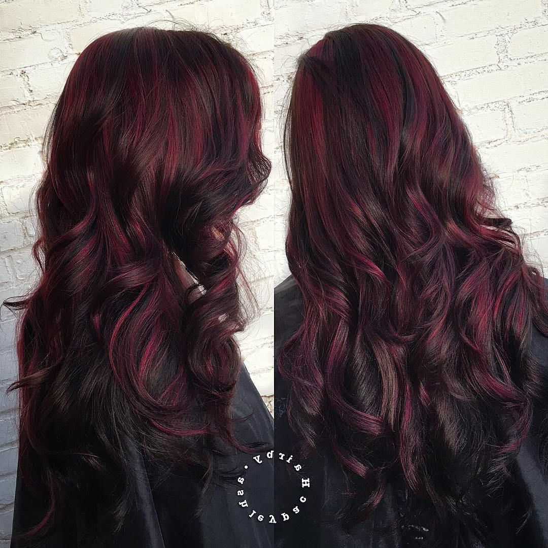 Favorite Black Twists Hairstyles With Red And Yellow Peekaboos Pertaining To 45 Shades Of Burgundy Hair: Dark Burgundy, Maroon, Burgundy (View 10 of 20)