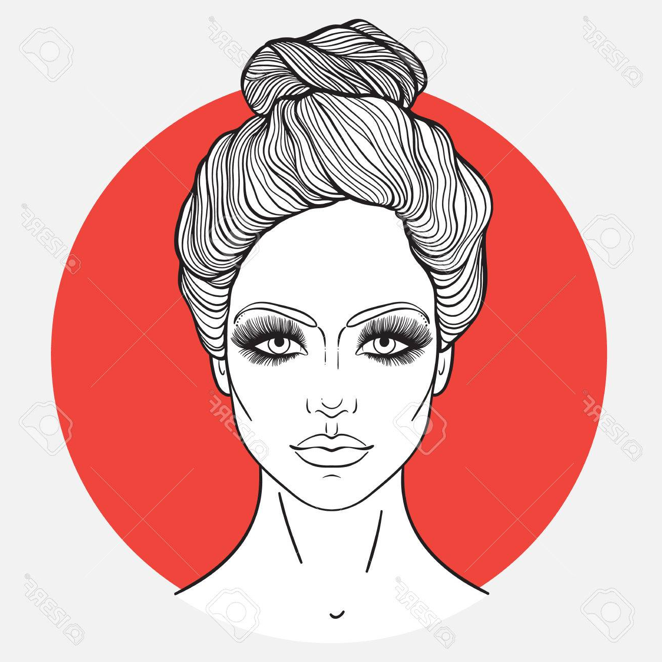 Favorite Decorative Topknot Hairstyles With Stock Illustration (View 8 of 20)