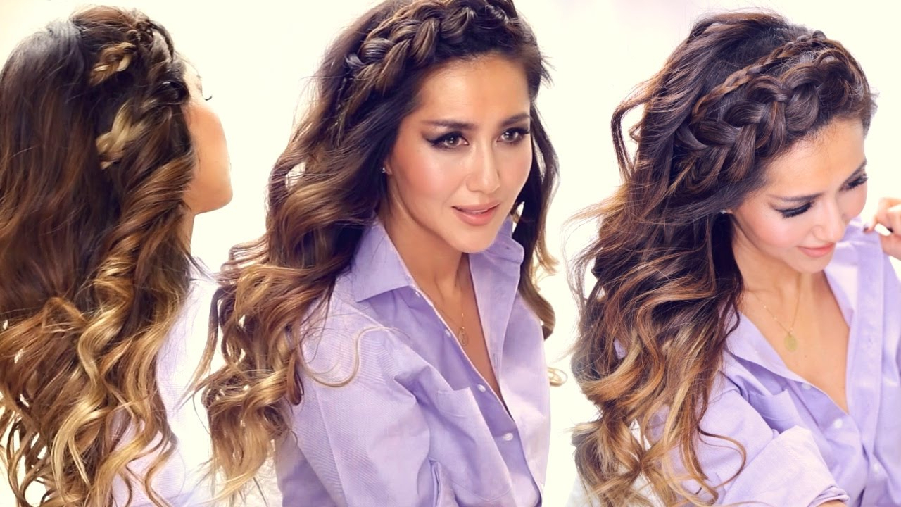 Favorite Headband Braided Hairstyles With Long Waves With ★ 3 Easy Headband Braid Hairstyles & Hsi Curls (View 8 of 20)