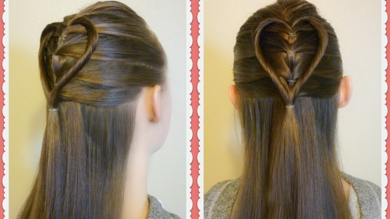 Favorite Heart Shaped Fishtail Under Braid Hairstyles Throughout Elastic Braid Twist Heart Hairstyle Tutorial For Valentine's (View 9 of 20)