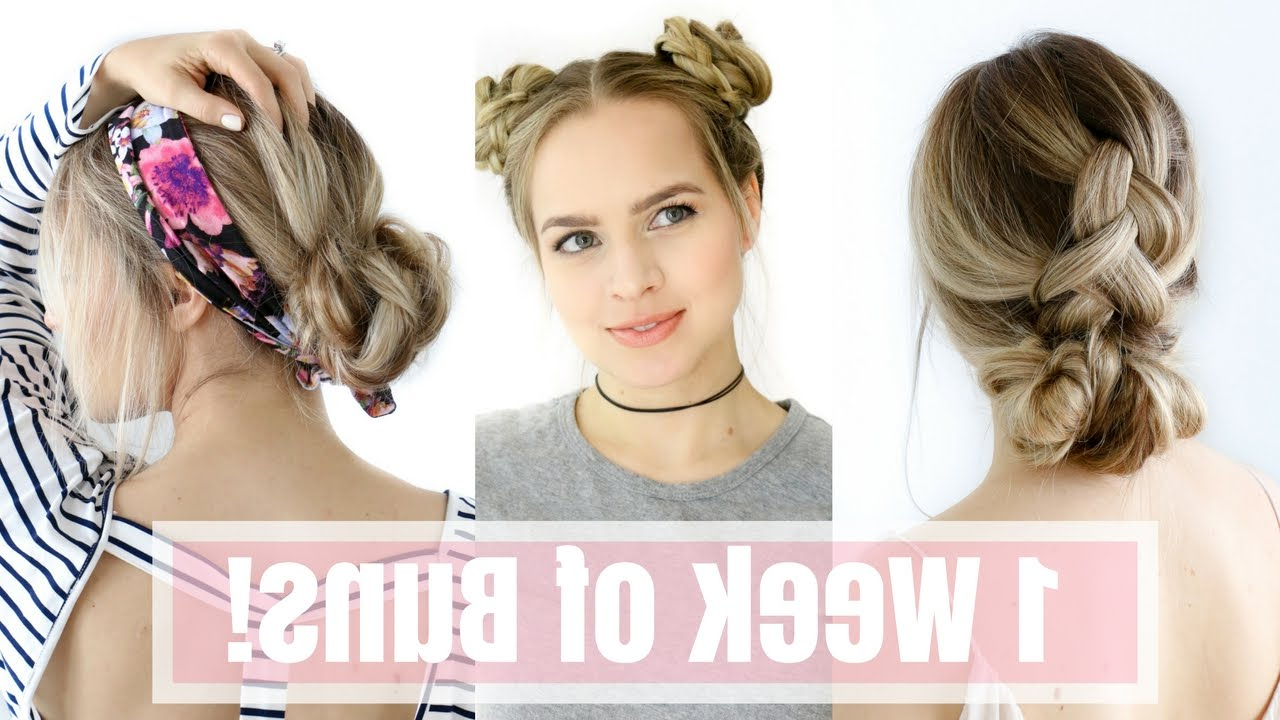 Favorite Messy Bun Hairstyles With Double Headband Throughout 1 Week Of Bun Hairstyles – Hair Tutorial! (View 15 of 20)
