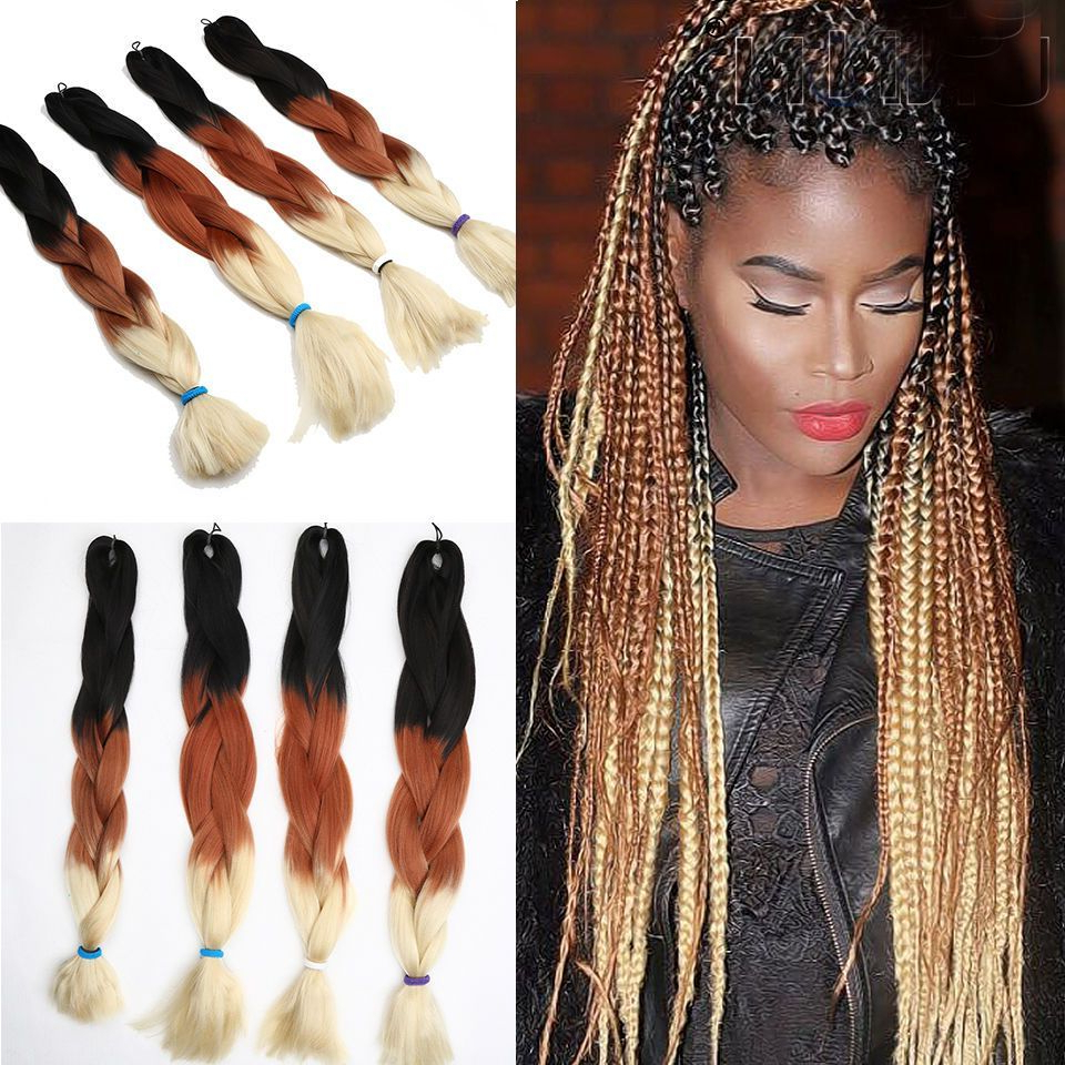"Favorite Multicolored Extension Braid Hairstyles Regarding Details About New Bulk! Jumbo Braiding Hair 24"" Long Ombre (View 5 of 20)"