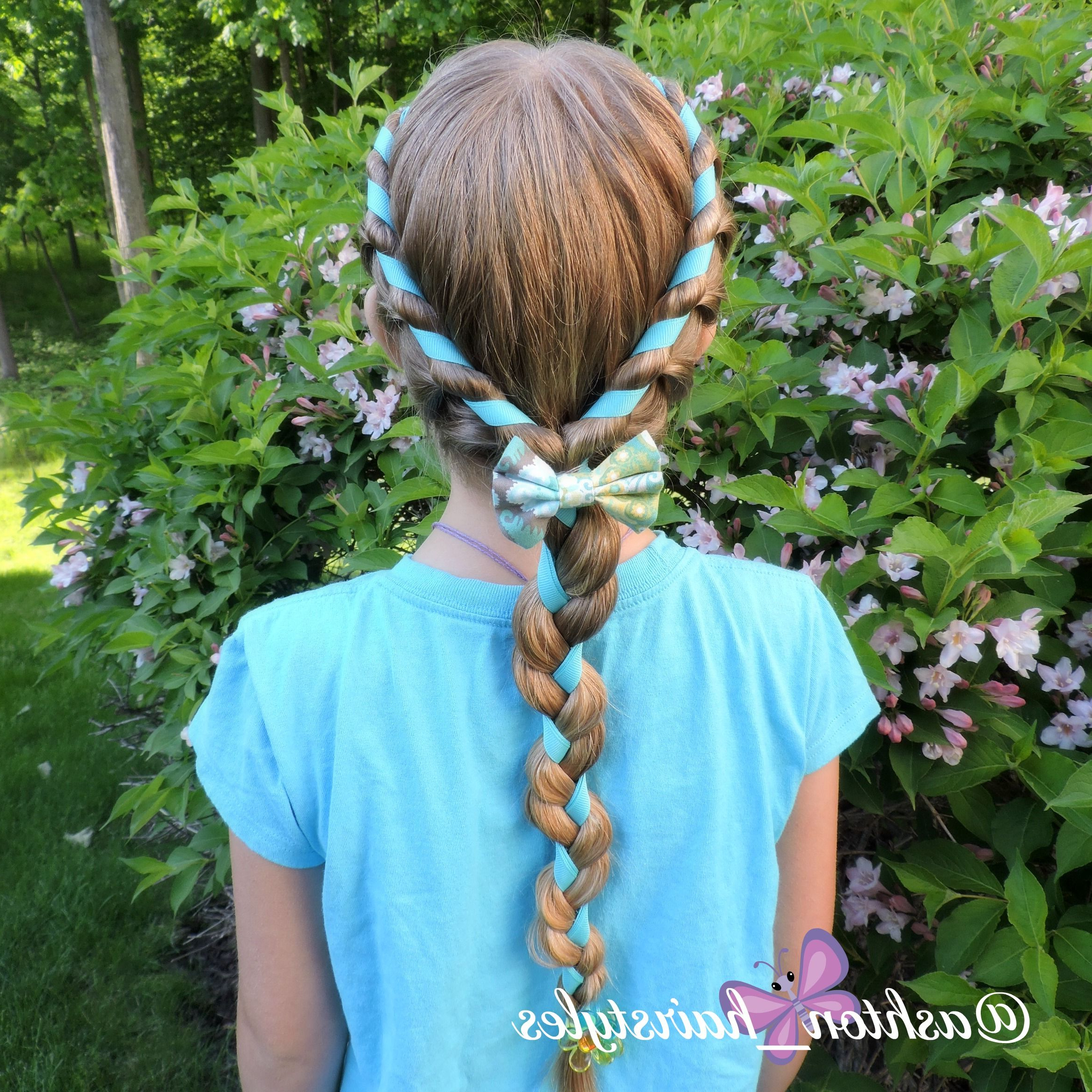 Favorite Three Strand Pigtails Braided Hairstyles Inside Fun Rope Braid With Ribbon Finished Off With A 3 Strand (View 3 of 20)