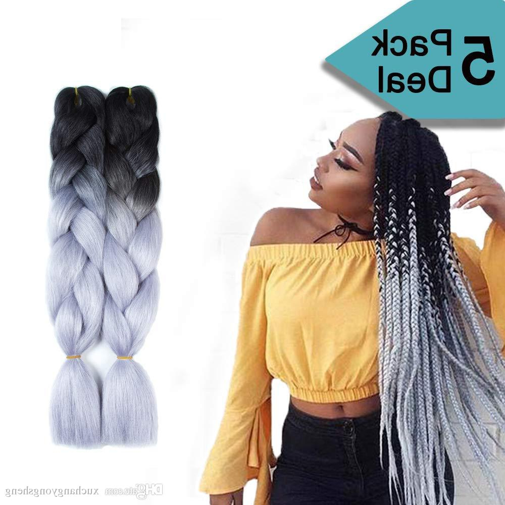 Favorite Two Tone Twists Hairstyles With Beads With Ombre Braiding Hair Kanekalon Xpression Synthetic Crochet Braids Twist 24inch 100g Ombre Two Tone Jumbo Braid Hair Extensions (View 9 of 20)