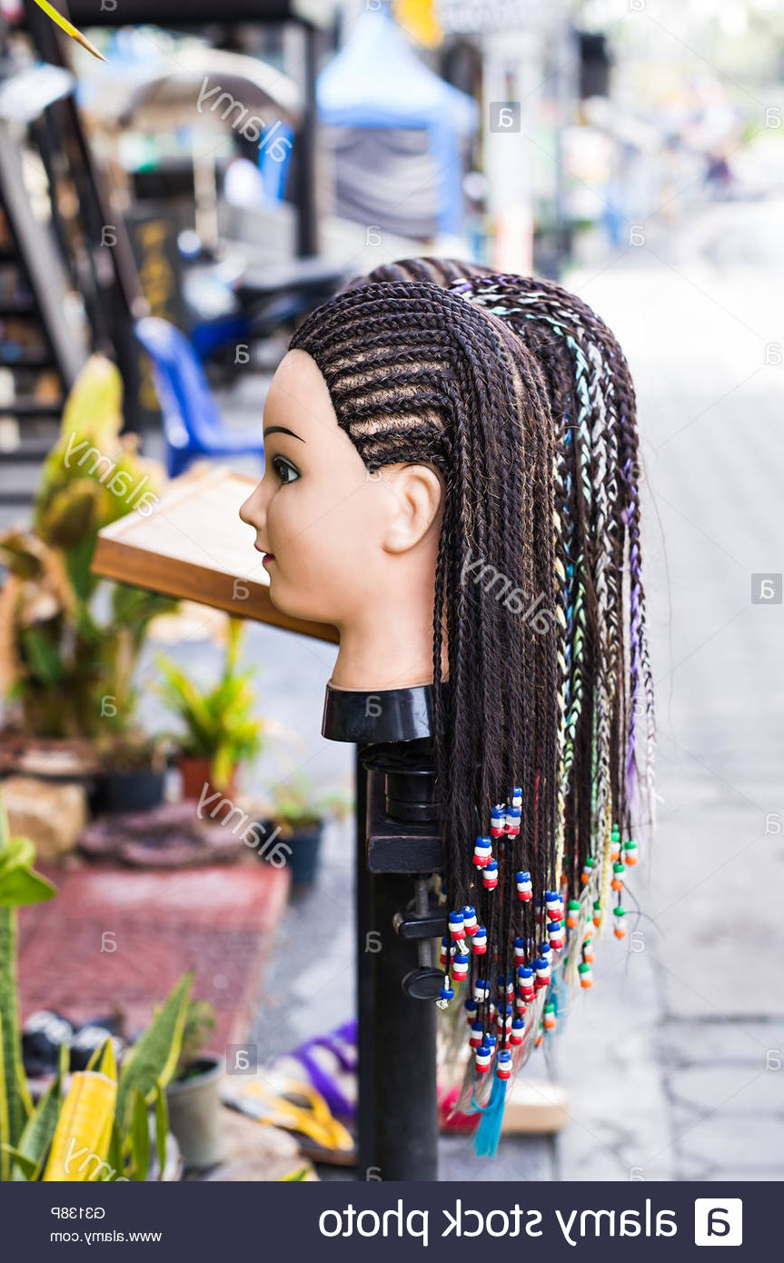 Female Mannequin Head With Braided Pigtails Hairstyle Throughout Most Popular Beaded Pigtails Braided Hairstyles (View 14 of 20)