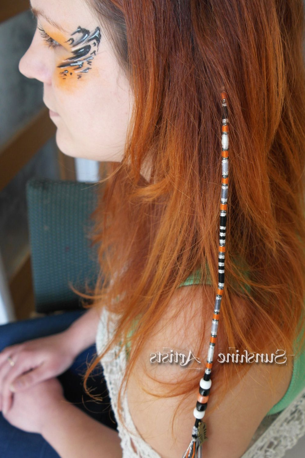 Fish Charm Hair Wrap, Clip In Hair Braid In Dark Orange In Current Braided Hairstyles With Beads And Wraps (View 18 of 20)
