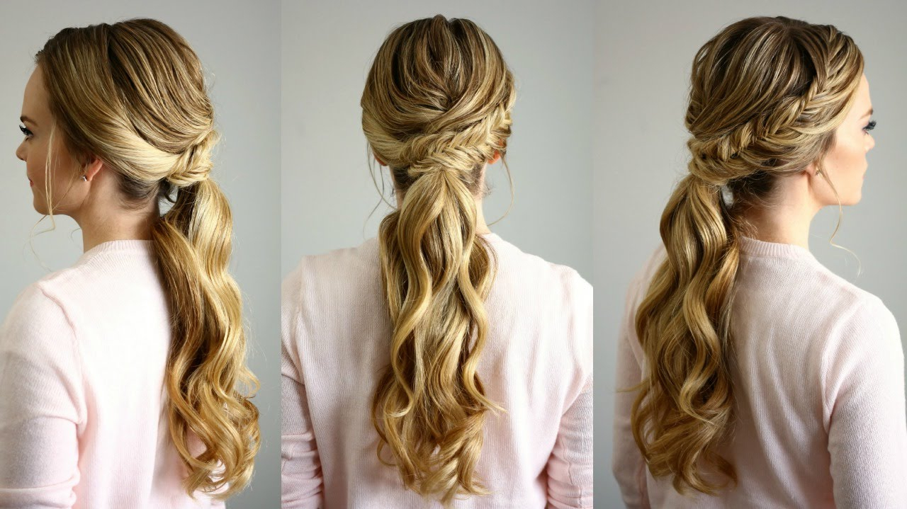 Fishtail Embellished Ponytail With Regard To Most Current Ponytail Fishtail Braided Hairstyles (View 9 of 20)