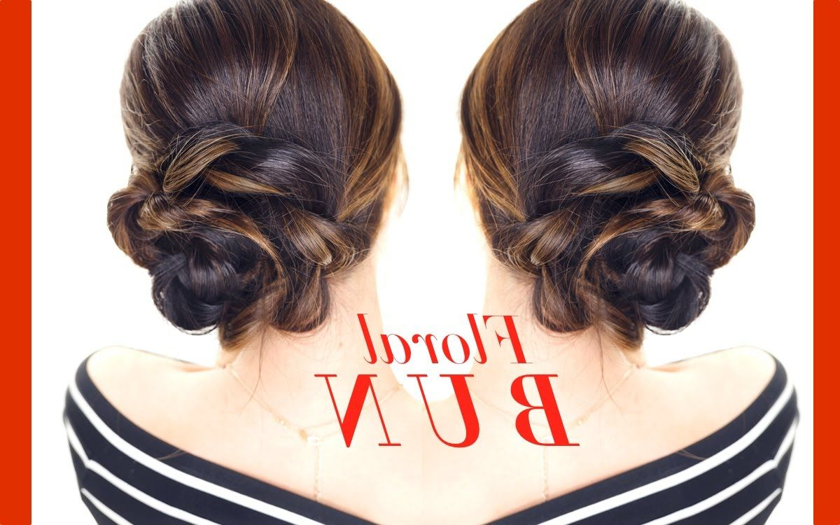 Floral Side Bun Hairstyle ☆ Easy Updo Hairstyles For Popular Floral Bun Updo Hairstyles (View 2 of 20)