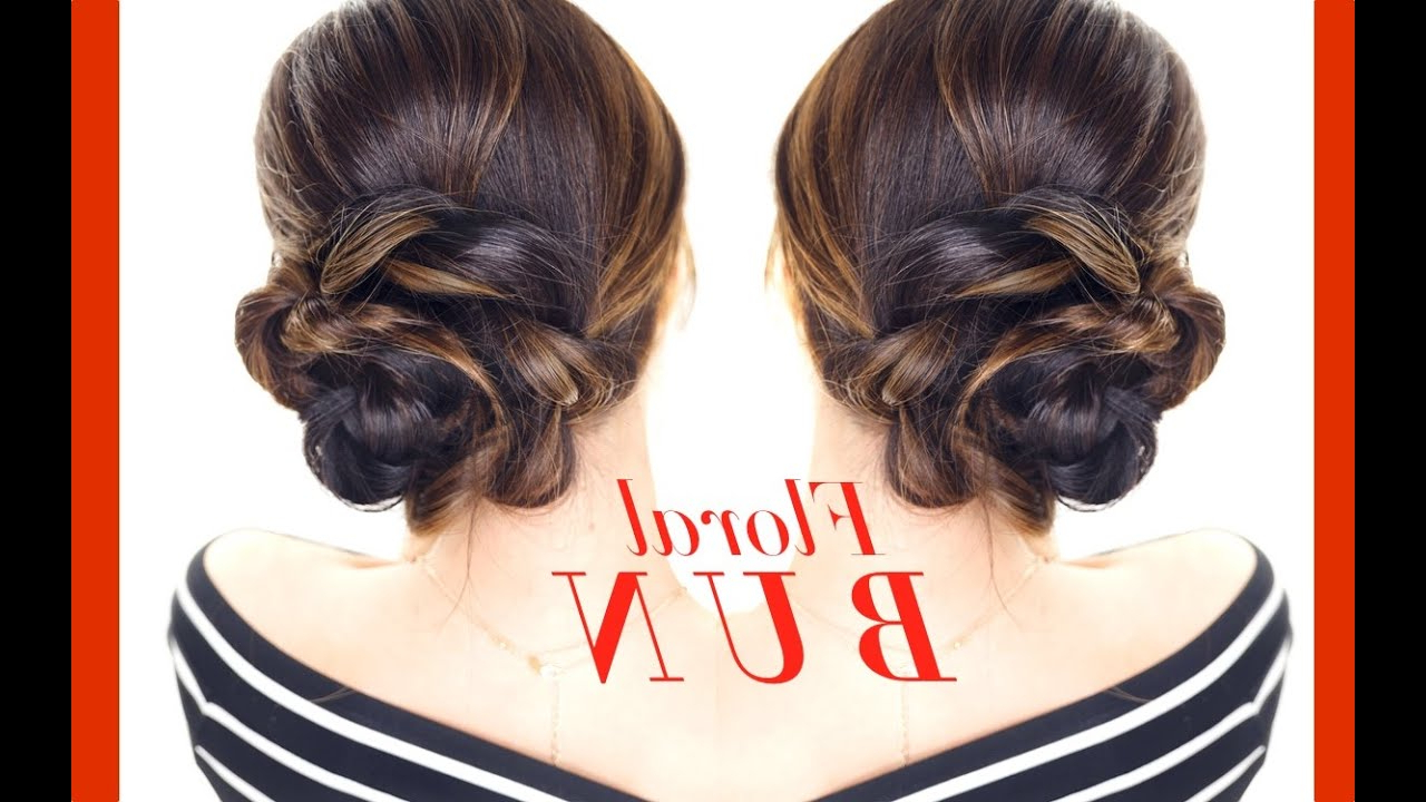 Floral Side Bun Hairstyle 👸★ Easy Holiday Updo Hairstyles Inside Favorite Pearl Bun Updo Hairstyles (View 7 of 20)