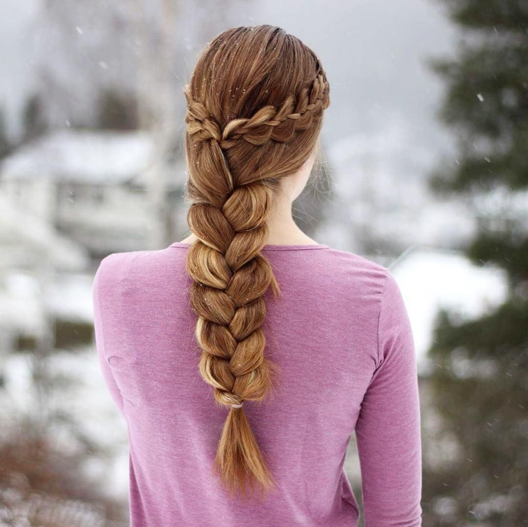 Four Strand Braids Into A Three Strand Braid With Regard To Latest Three Strand Pigtails Braided Hairstyles (View 8 of 20)