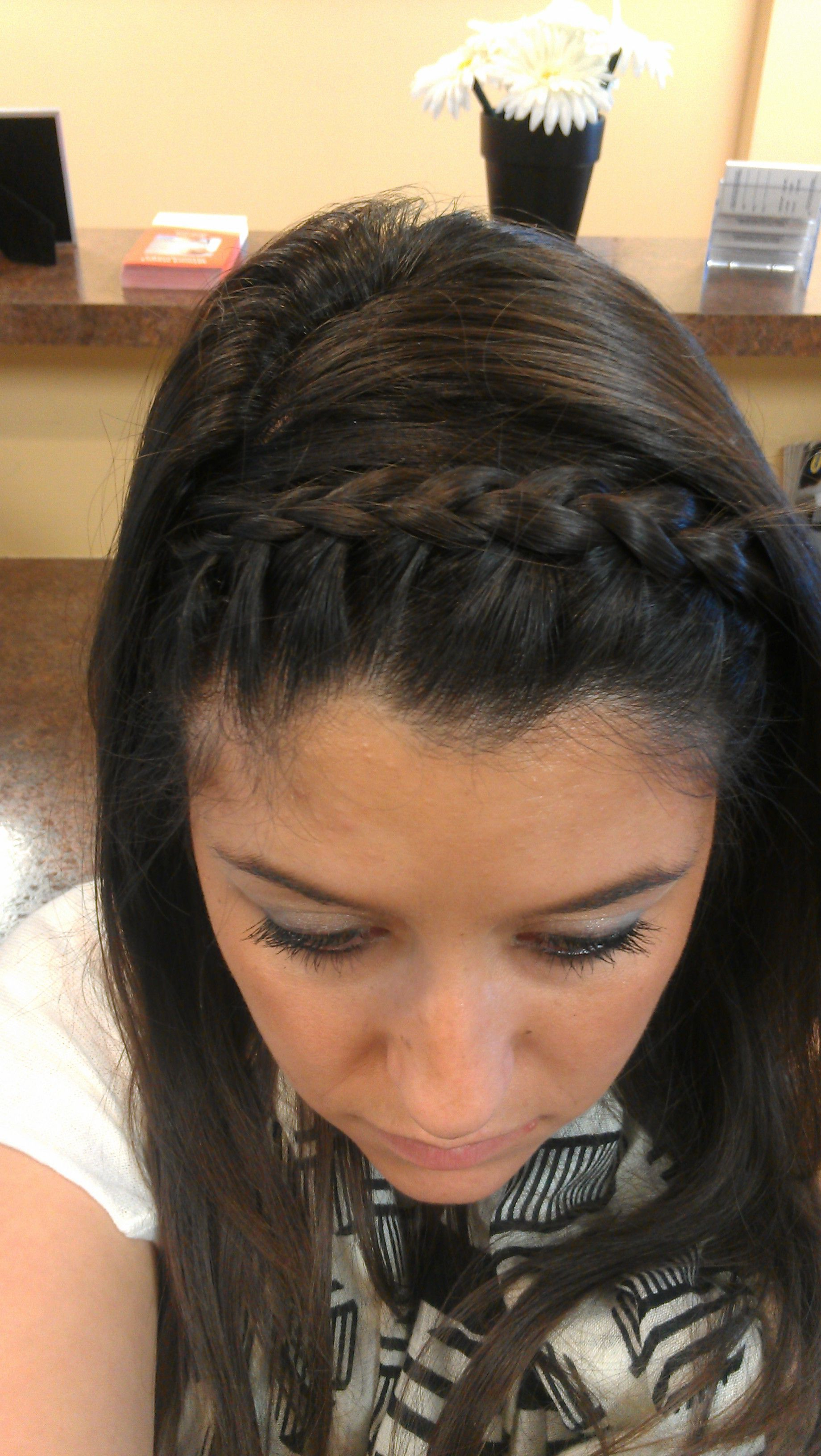 French Braid Headband Going To Do This W My Bangs Then Have In Latest Braided Headband Hairstyles For Curly Hair (View 10 of 20)