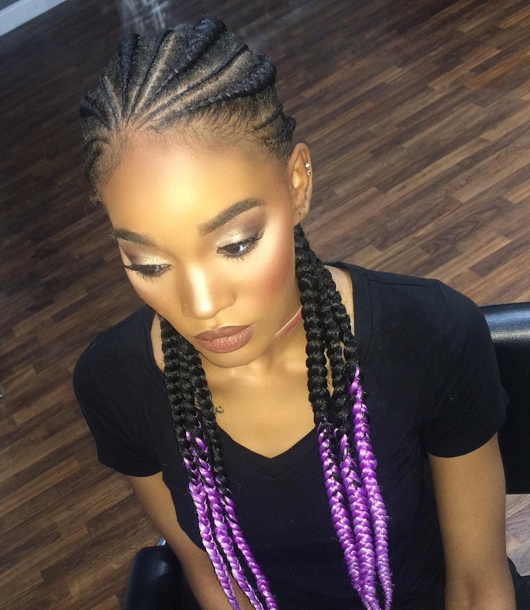 Featured Photo of Skinny Braid Hairstyles With Purple Ends