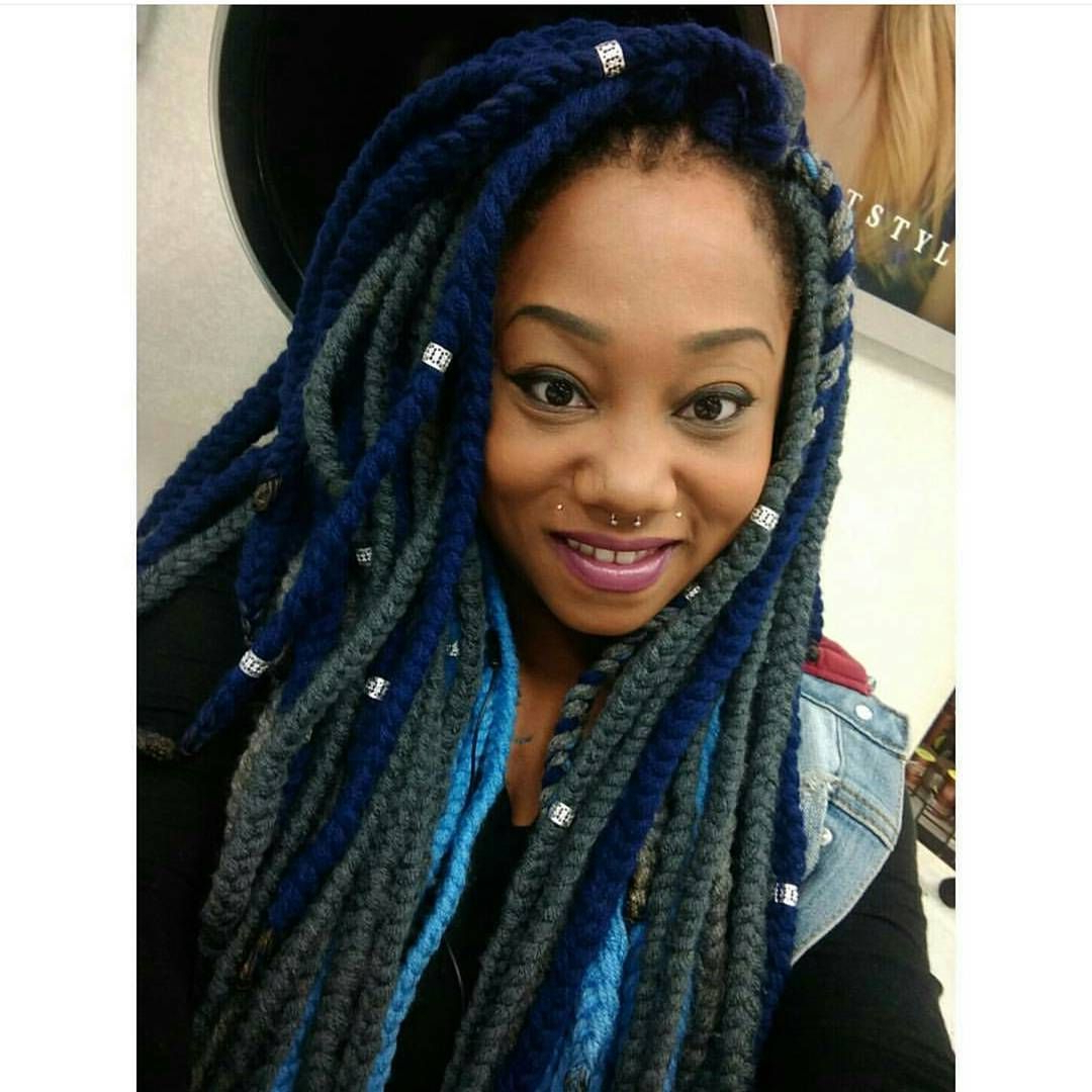 Grey, Navy Blue And Baby Blue Yarn Braids (View 3 of 20)
