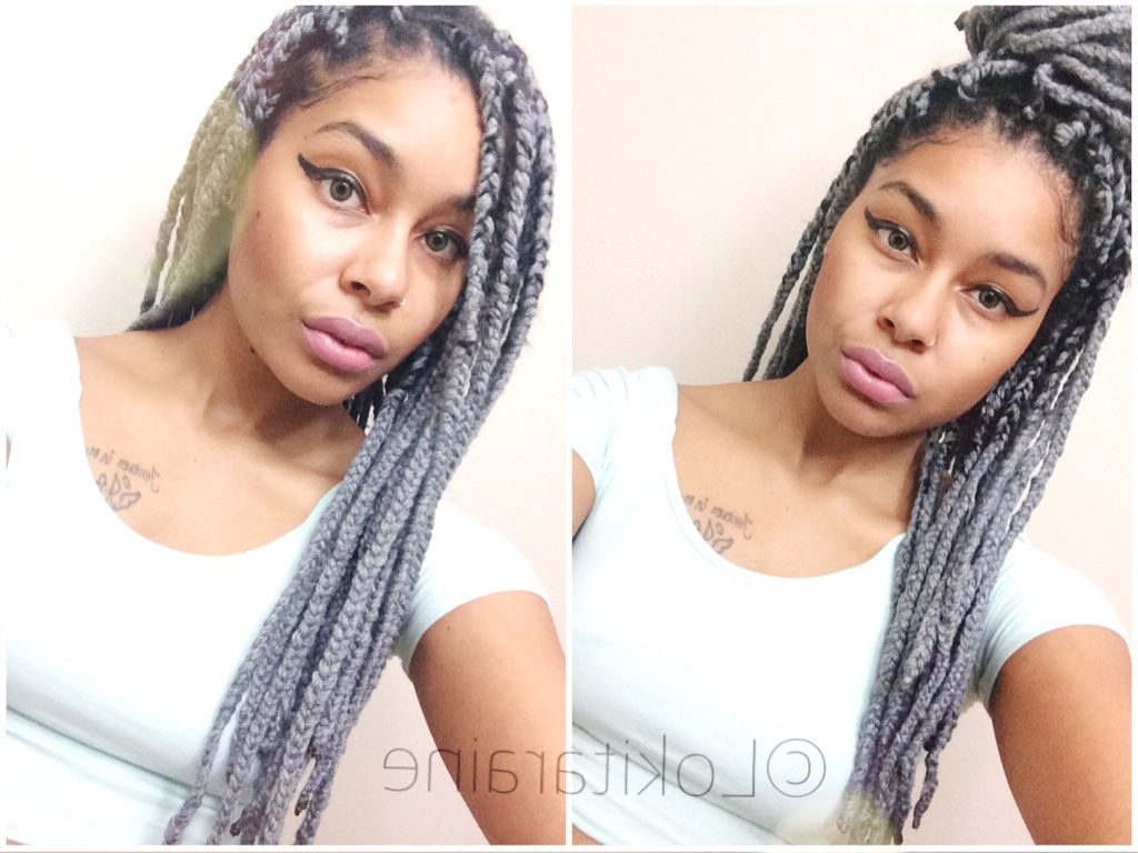 Grey Yarn Braids ♥ Poetic Justice ♥ Protective Style Throughout Popular Blue And Gray Yarn Braid Hairstyles With Beads (View 12 of 20)