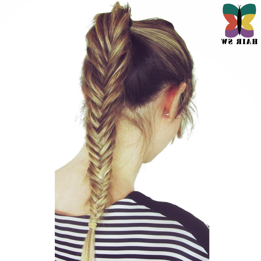 Hair Sw Long Straight Fishtail Braids Ponytail Clip In Plaited  Rope Hair Extension Synthetic Hair For Wedding Or Daliy Use In Synthetic In 2020 Rope And Fishtail Braid Hairstyles (View 11 of 20)