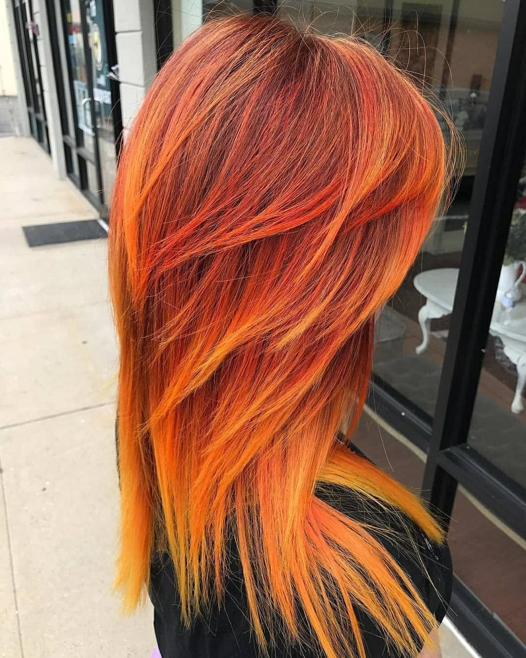Hairbyjayme Xo Used Extreme Orange And Neon Yellow To Create In Most Recent Red, Orange And Yellow Half Updo Hairstyles (View 5 of 20)