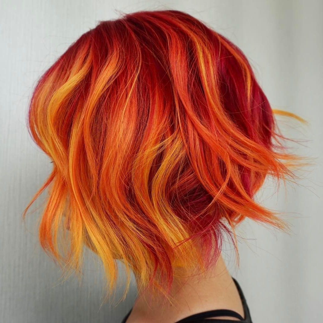Hairstevie Vincent Hair Artistry Beauty: Fantasy Unicorn In Most Up To Date Red, Orange And Yellow Half Updo Hairstyles (View 4 of 20)