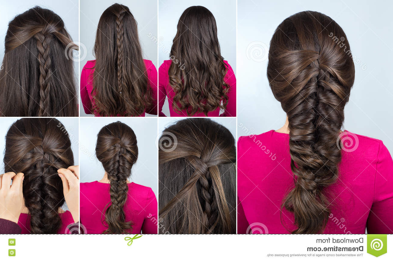 Hairstyle Braid On Curly Hair Tutorial Stock Image – Image For Favorite 3D Mermaid Plait Braid Hairstyles (View 8 of 20)