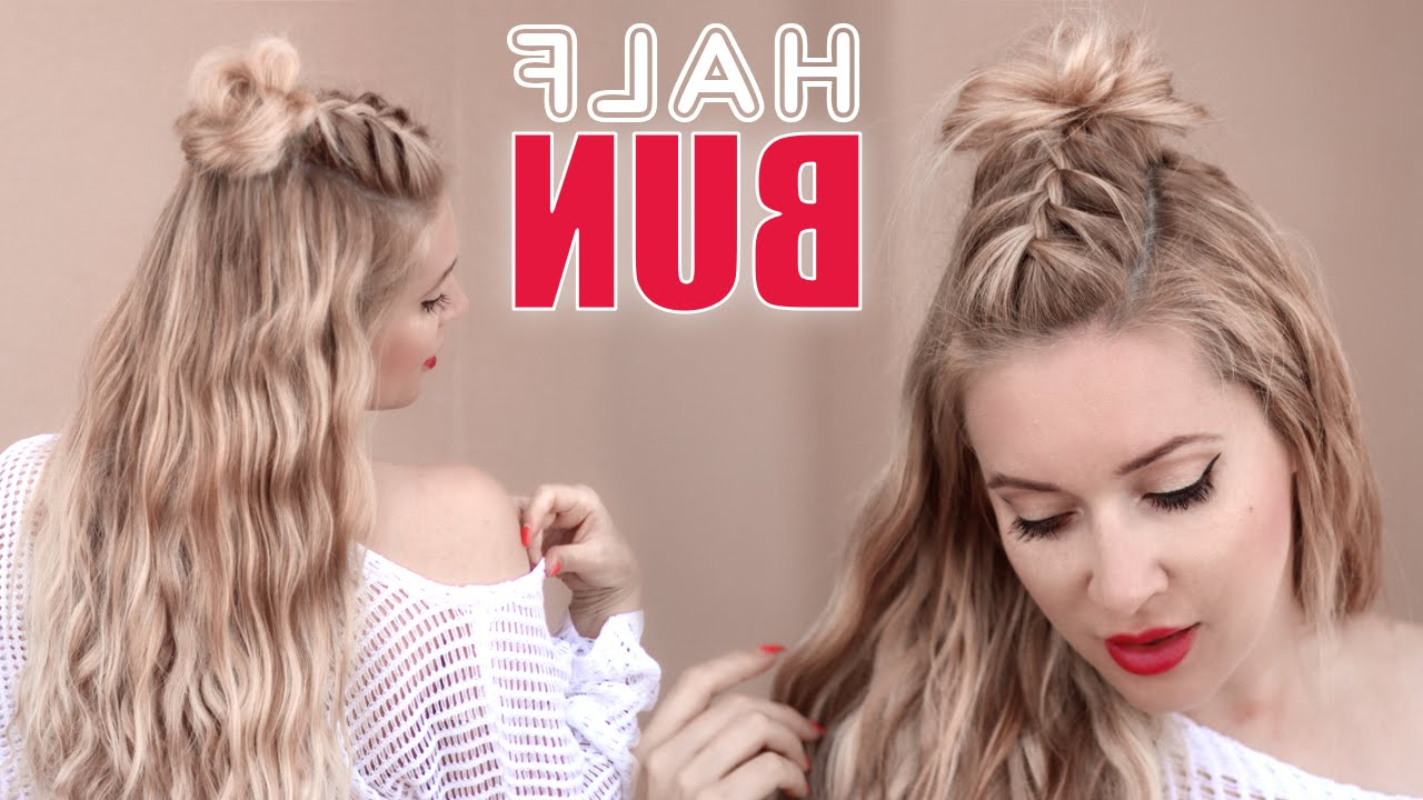 Half Bun Half Down Hairstyle ✿ Braided Back To School Hair Tutorial For  Short, Medium And Long Hair With Regard To Most Recently Released Simple Half Bun Hairstyles (Gallery 9 of 20)