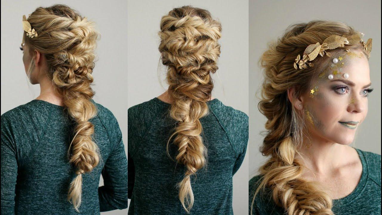 Halloween Hair Tutorial Inside Well Known Messy Curly Mermaid Braid Hairstyles (View 11 of 20)