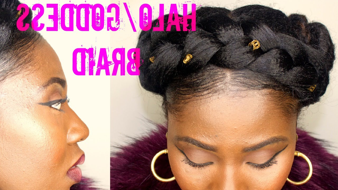 Halo Braid On Natural Hair Intended For Widely Used Halo Braided Hairstyles With Beads (View 7 of 20)