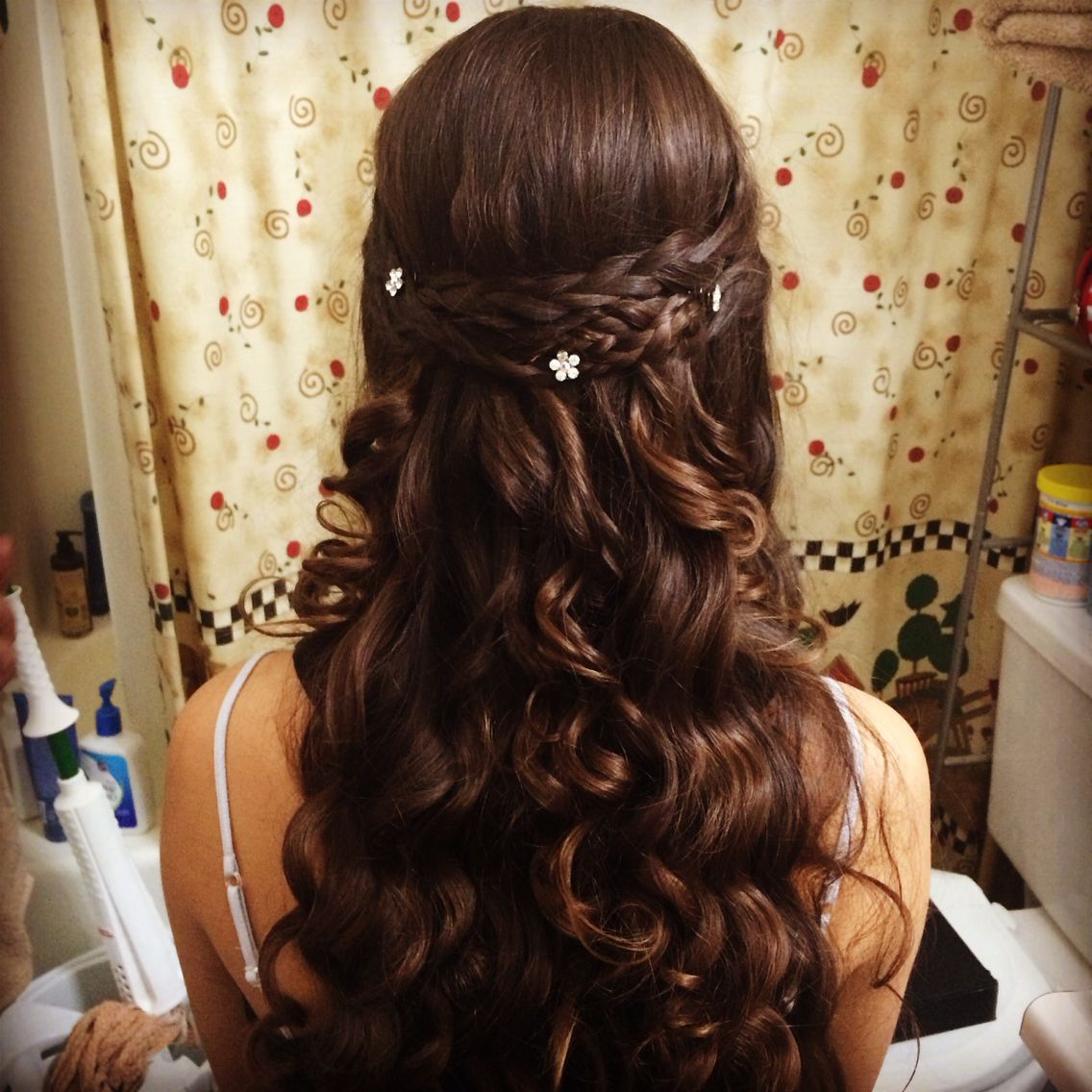 Homecoming Half Up/ Half Down Do! Curl And Then Braid Fronts Regarding Most Up To Date Pretty Pinned Back Half Updo Braids (View 18 of 20)