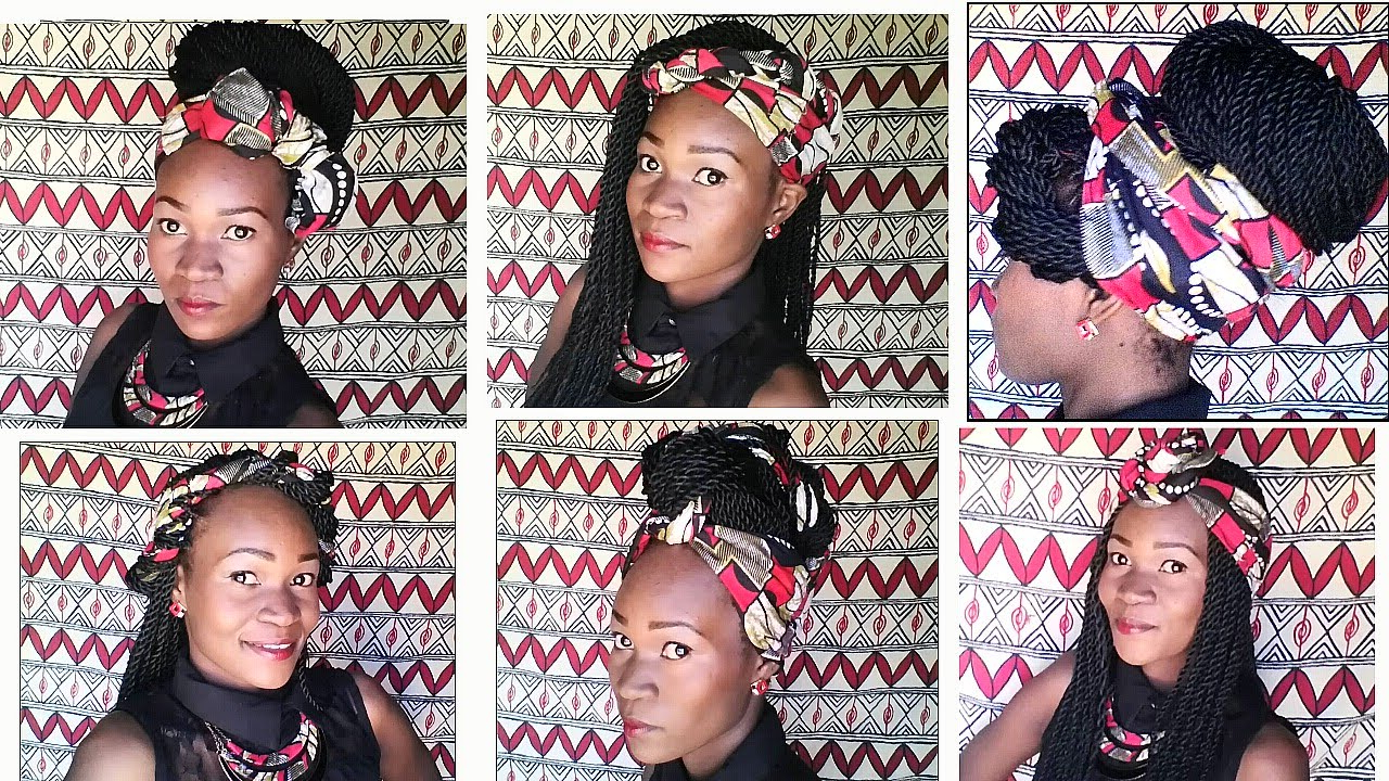 How I Style Box/twist Braids With African Print Head Scarf/wrap Within Favorite Loose Twist Hairstyles With Hair Wrap (View 14 of 20)