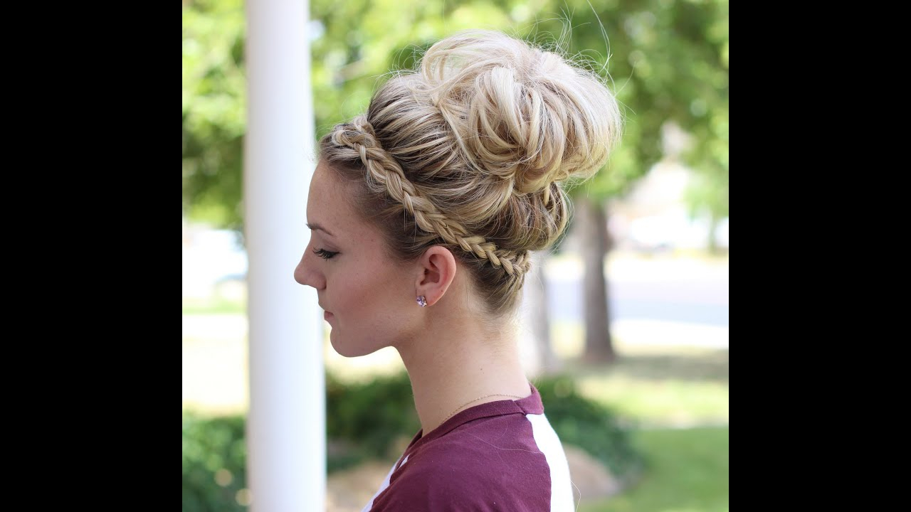 How To: Crown Braid + Messy Bun Pertaining To Most Current Crown Braid Updo Hairstyles (View 13 of 20)