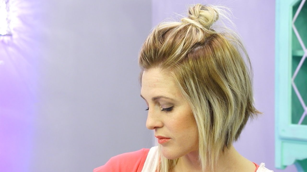How To Do A Half Up Messy Bun With Short Hair (Hack) Intended For Popular Stacked Mini Buns Hairstyles (View 14 of 20)