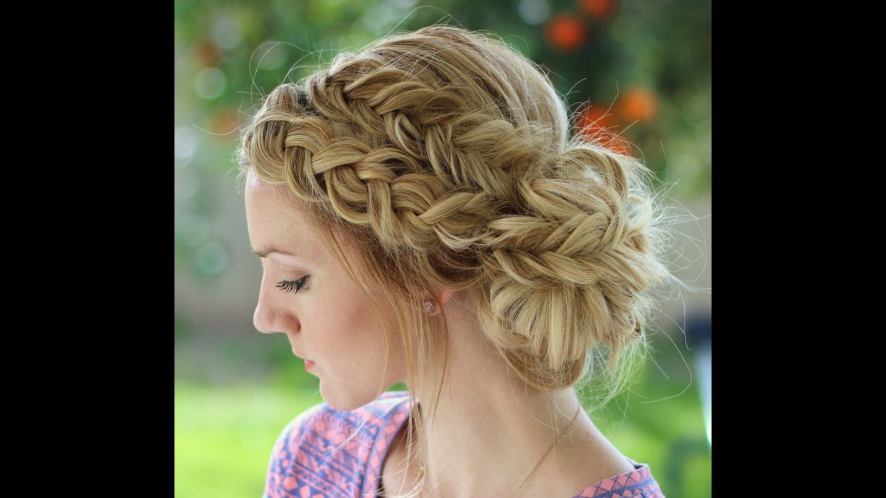 How To: Dutch Braid And Dutch Fishtail Braid Messy Bun Inside Current Messy Crown Braid Updo Hairstyles (View 15 of 20)