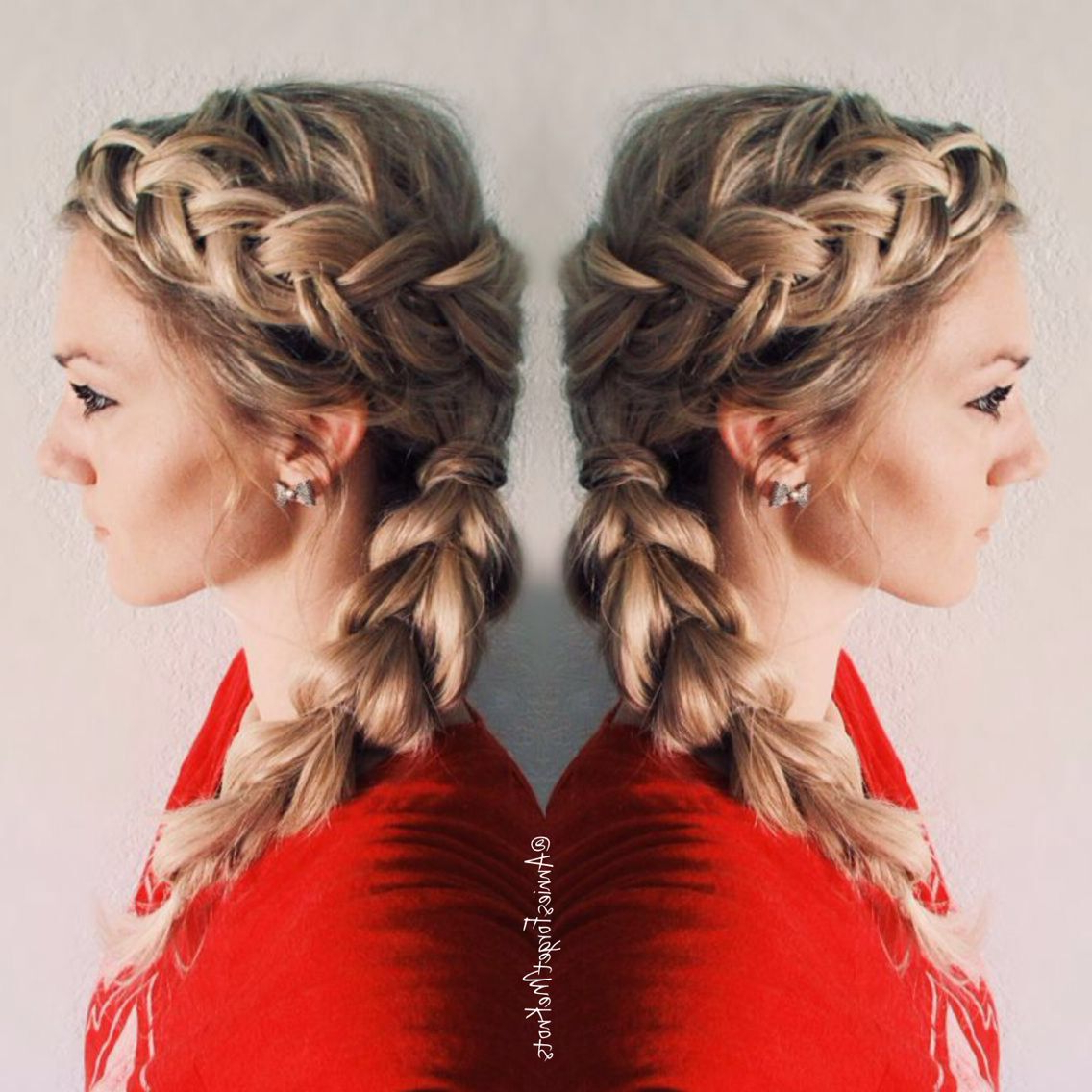 How To: Dutch Braid On Top, French Braid Wrapped Around The In Most Up To Date Braided And Wrapped Hairstyles (View 8 of 20)