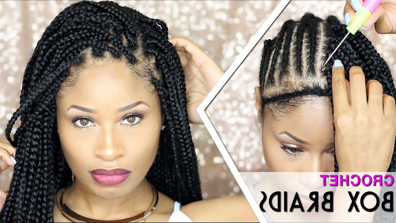How To ➟ Crochet Box Braids 🔥 (Looks Like The Real Thing! Free Parting) Regarding Recent Centre Parted Long Plaits Braid Hairstyles (View 19 of 20)