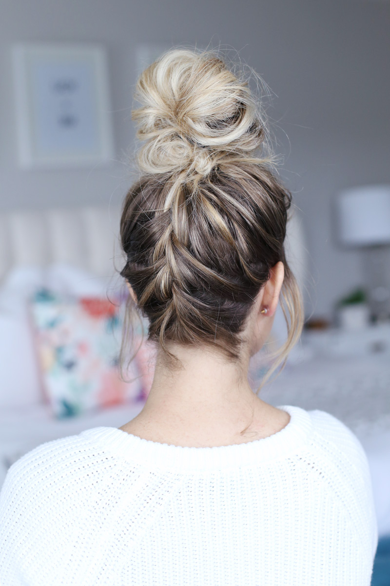 How To French Braid Into A Top Knot – Twist Me Pretty Regarding Latest Braided Top Knot Hairstyles (Gallery 10 of 20)