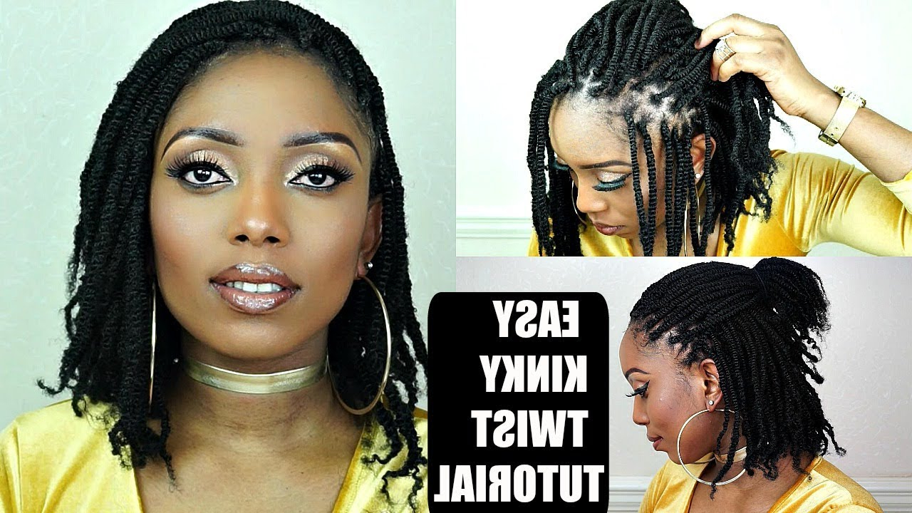 How To Kinky Twists Crochet Braids Tutorial On Short Natural Hair Inside Most Recent Two Tone Tiny Bob Braid Hairstyles (Gallery 9 of 20)