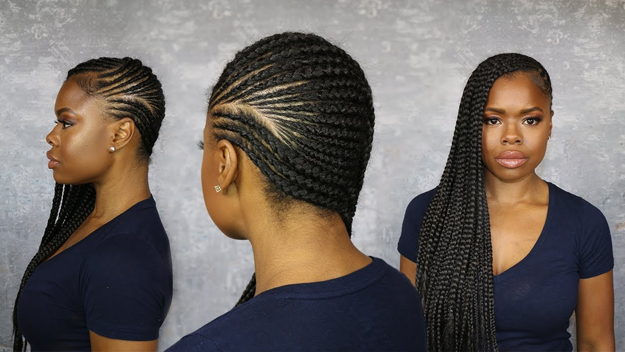 How To Lemonade Braid On Your Own Head W/ Pre & Post Hair And Scalp Care Tips Intended For Most Popular Blue Sunset Skinny Braided Hairstyles (View 8 of 20)