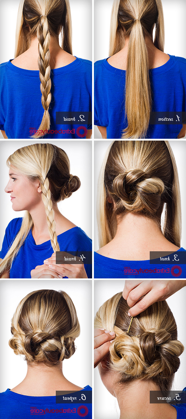 How To Make Triple Braided Bun Hairstyle Pertaining To Most Up To Date Triple Under Braid Hairstyles With A Bun (View 19 of 20)