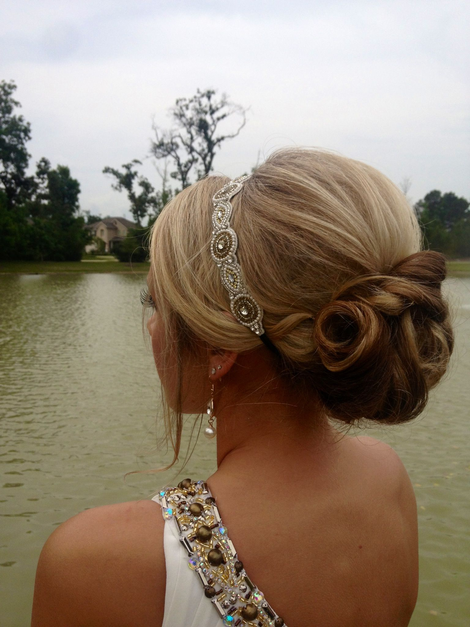 I Want A Band Like This To Keep My Bangs Out Of My Face With Inside Famous Blinged Out Bun Updo Hairstyles (View 12 of 20)