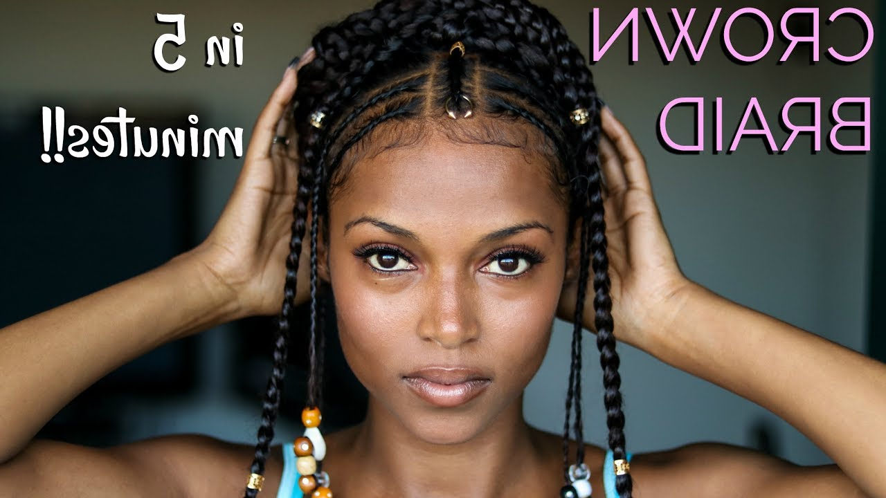 In 5 Minutes!! Pertaining To 2019 Halo Braided Hairstyles With Beads (View 9 of 20)