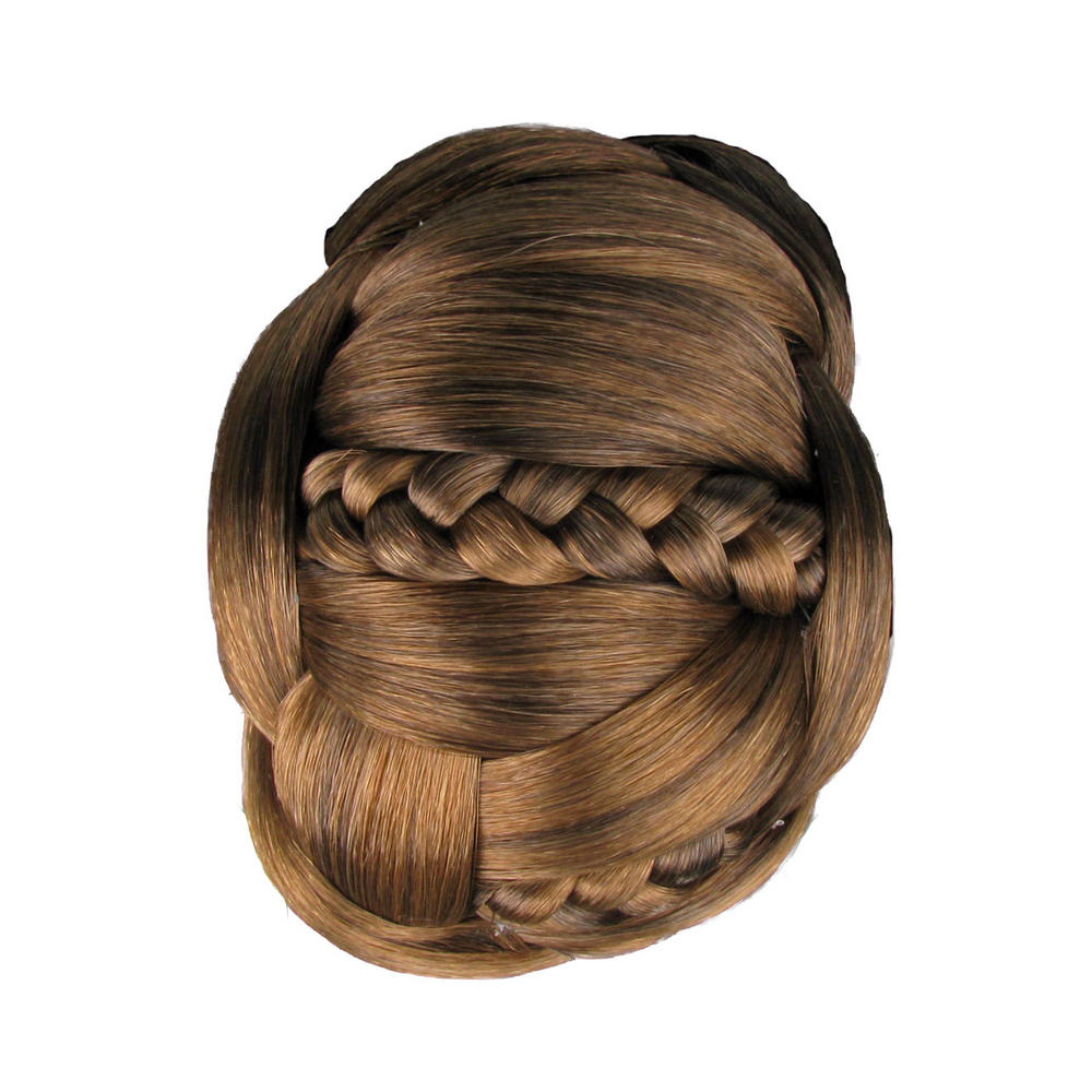 Jessica Simpson Hairdo Braided Chignon Clip In On Bun Hair Light Brown Hair  Extension Bun – Chestnut / Light Brown 5 Throughout Well Liked Light Brown Braid Hairstyles (View 10 of 20)
