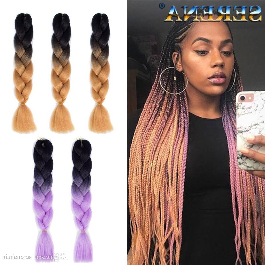 Kanekalon Ombre Braiding Hair Synthetic Crochet Braids Twist 24Inch 100G Ombre Two Tone Jumbo Braid Hair Extensions Xpression Braiding Hair Pertaining To 2020 Two Tone Twists Hairstyles With Beads (Gallery 6 of 20)