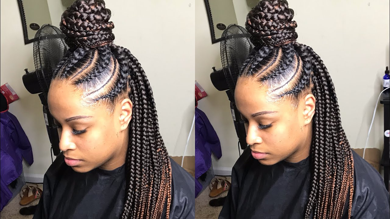 Large Feed In Box Braids Tutorial Very Detailed! Throughout Trendy Long And Big Cornrows Under Braid Hairstyles (View 8 of 20)