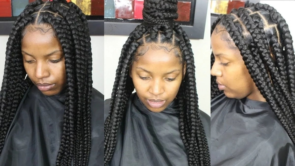 Latest Big Box Braids Hairstyles In 2019 ▷ Tuko.co.ke For Well Known Geometric Blonde Cornrows Braided Hairstyles (Gallery 17 of 20)