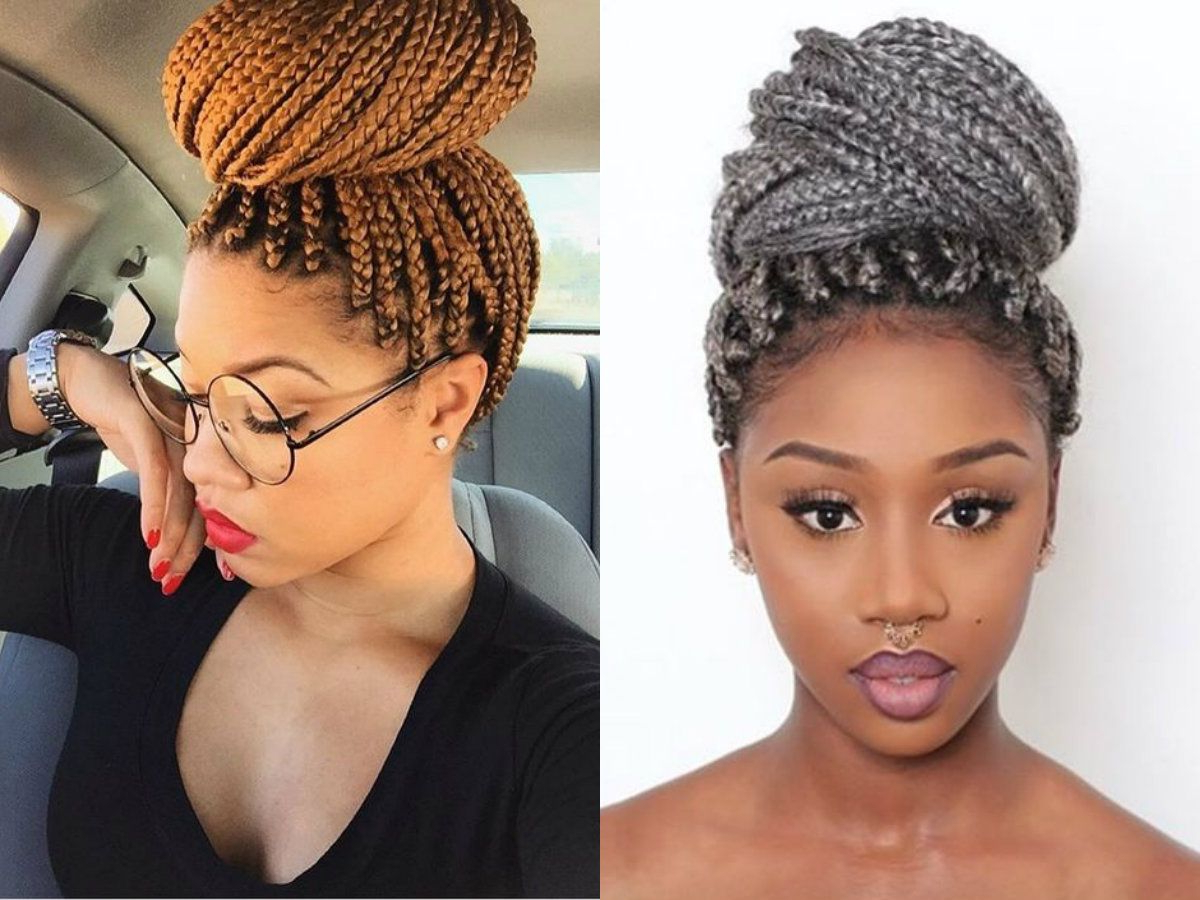Latest Box Braids Bun Hairstyles Intended For Colored Box Braids Updos (View 13 of 20)