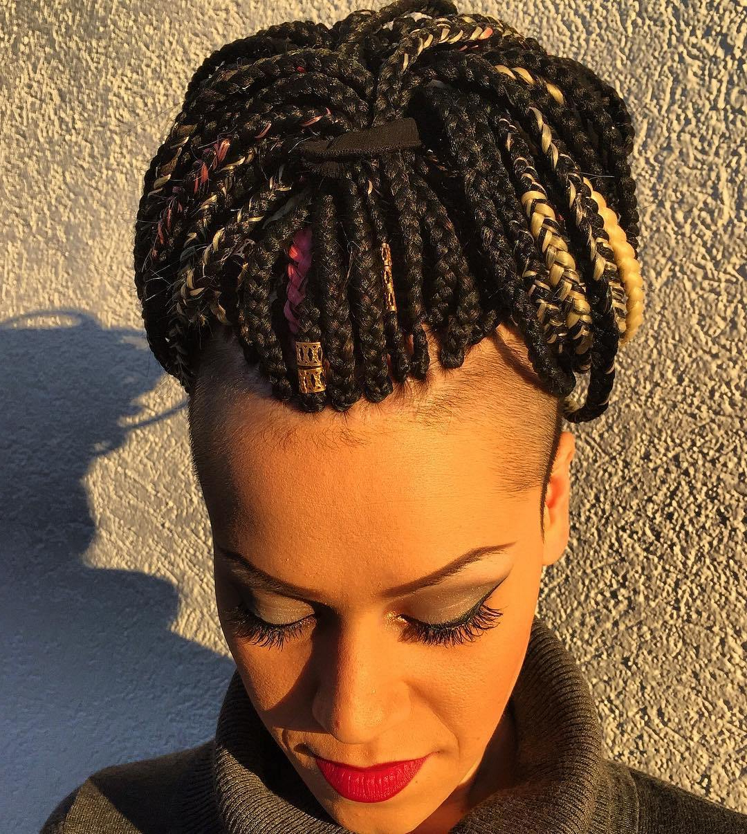 Latest Box Braids Bun Hairstyles Intended For Top 20 Box Braids Updo Hairstyles – Page 20 – Foliver Blog (View 14 of 20)