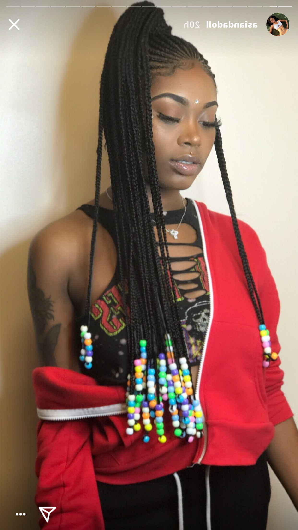 Latest Braided Crown Hairstyles With Bright Beads In Asiandadoll Pinterest: Therealhippiee 💅🏾 (Gallery 16 of 20)
