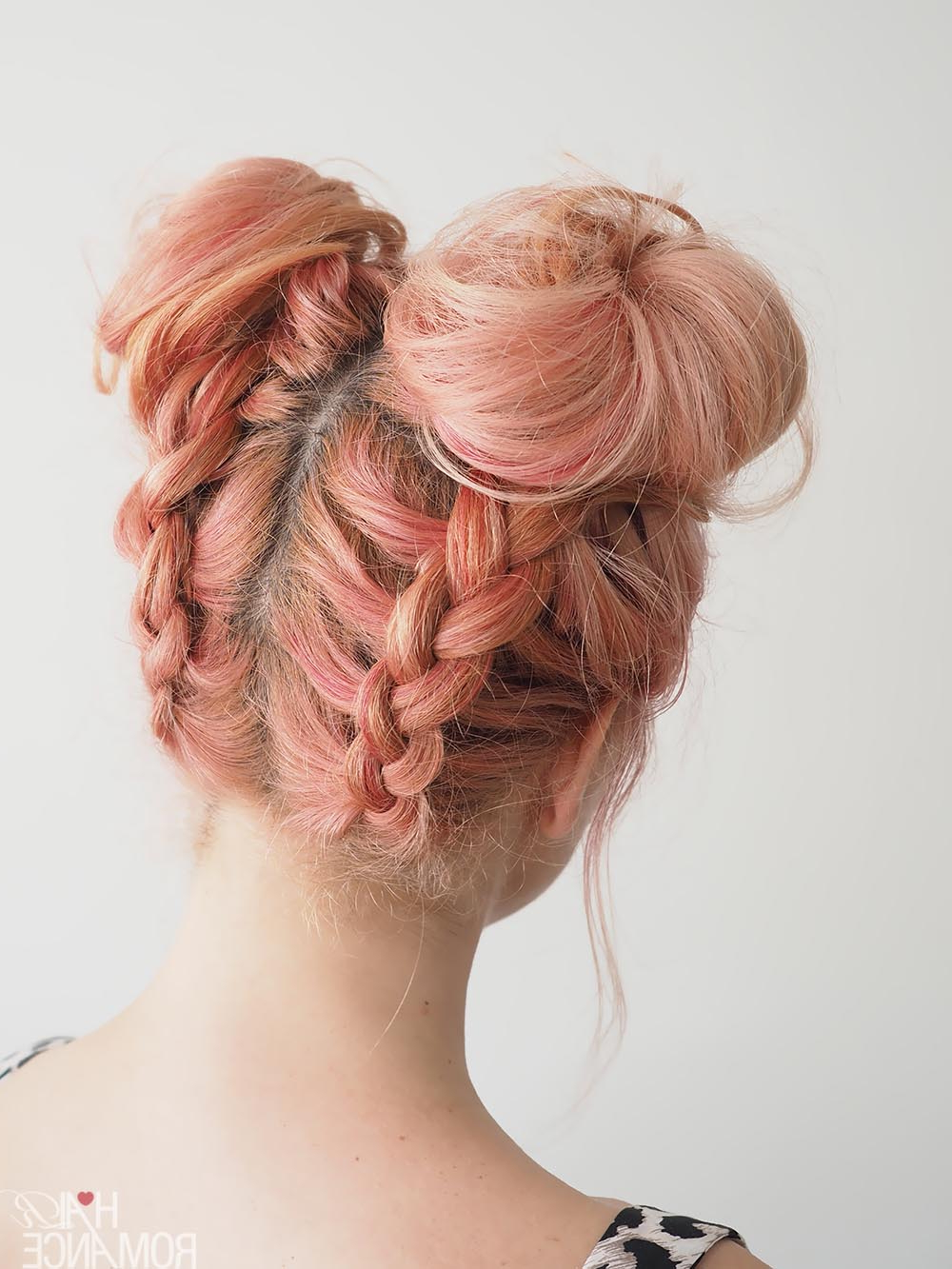 Latest Braids And Buns Hairstyles Throughout Diy Braided Space Buns Tutorial – Hair Romance (Gallery 18 of 20)